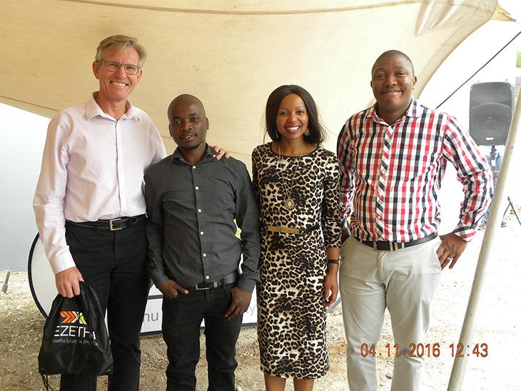 Murray Bolton (CEO – Cargo Carriers); Rhulani Manganyi (Ezethu Logistics - Distribution Supervisor);Nandipha Makhumbi (Ezethu Logistics Distribution Supervisor) &  Siviwe Zweni (Ezethu Logistics Contracts Manager)